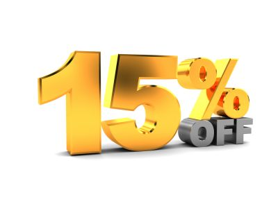 15% OFF on Mon-Tue-Wed